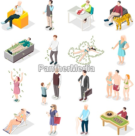 rich people and rich life isometric