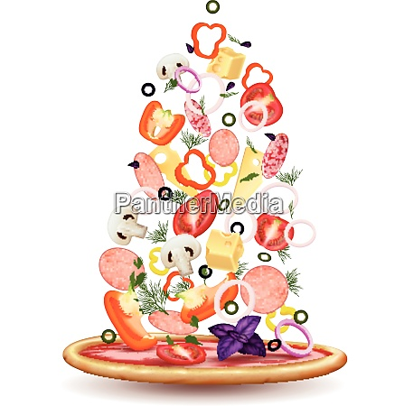 pizza falling vegetables realistic composition with