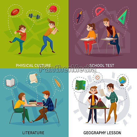 students during school test physical culture