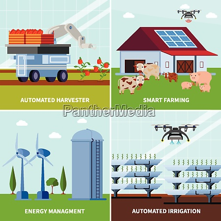 smart farming with unmanned harvester automated