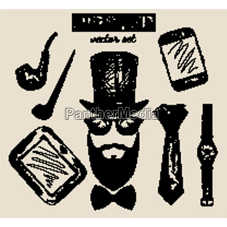 hand drawn hipster accessories set of