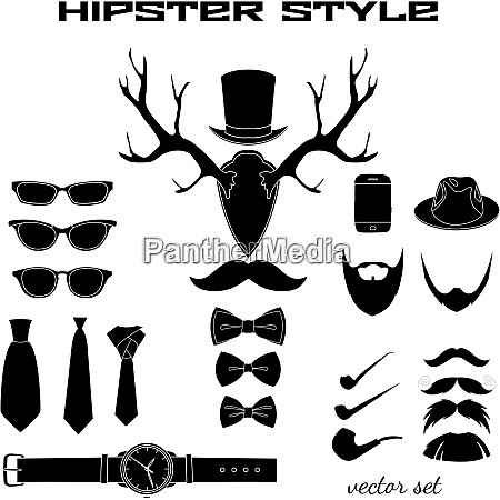 hipster accessory pictograms collection of hat