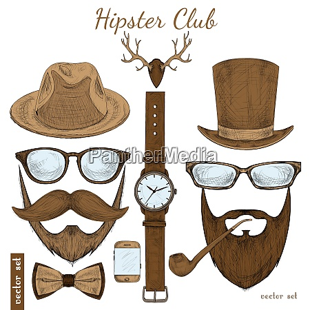 vintage hipster club accessories set for