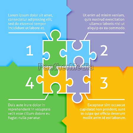jigsaw puzzle infographic background with option