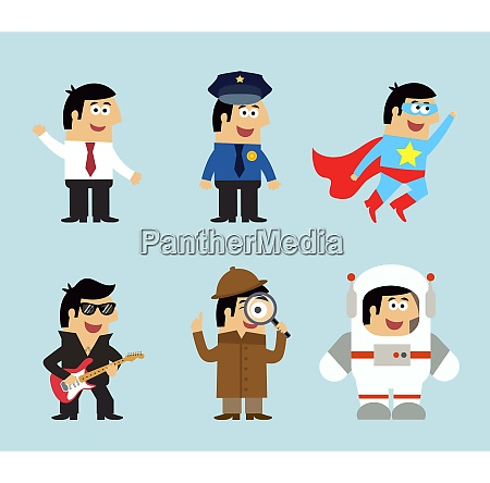 professions icons set of manager policeman