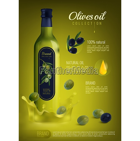 realistic olive oil in glass bottle