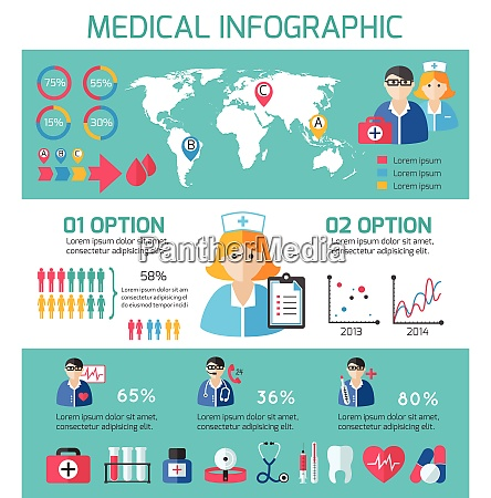 medical elements and staff infographic elements