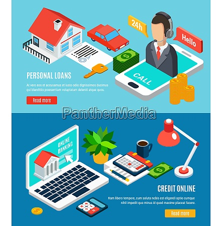 loans isometric horizontal banners set with