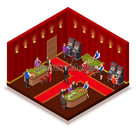 casino room isometric view with slot