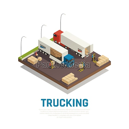trucking isometric composition with cargo loading