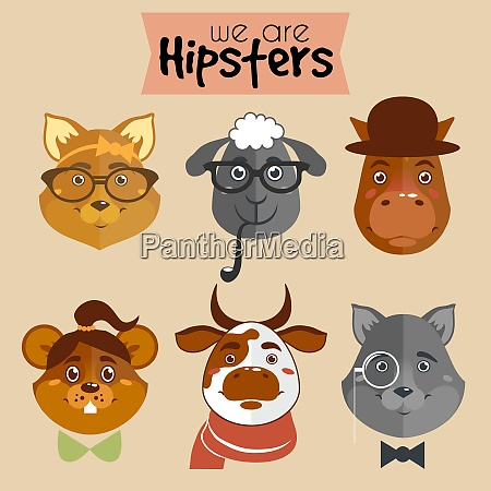 collection of hipster cartoon character animals