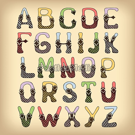 sketch hand drawn colored alphabet with
