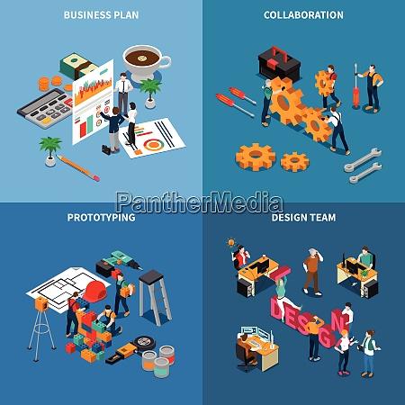teamwork collaboration isometric concept icons set