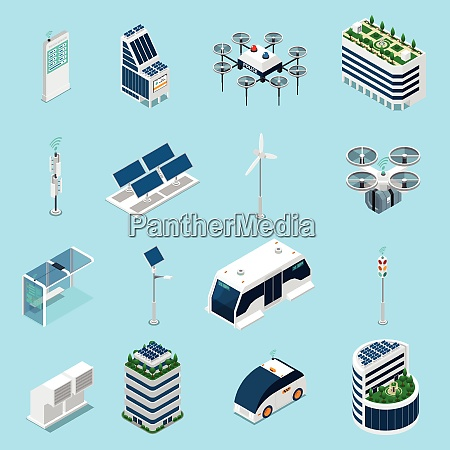 smart city isometric icons set with