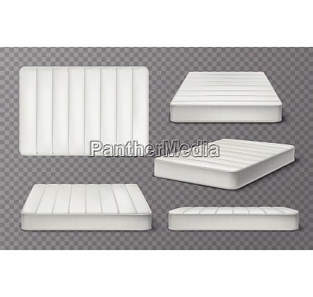mattress realistic set on transparent background