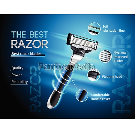 realistic razor with five blades and
