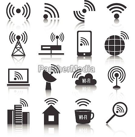 wireless communication network business black icons