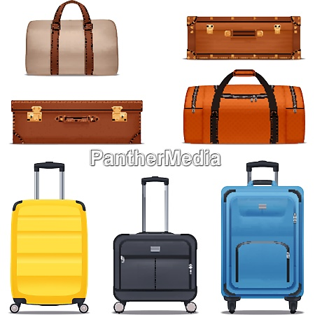 baggage colored set of bags hand