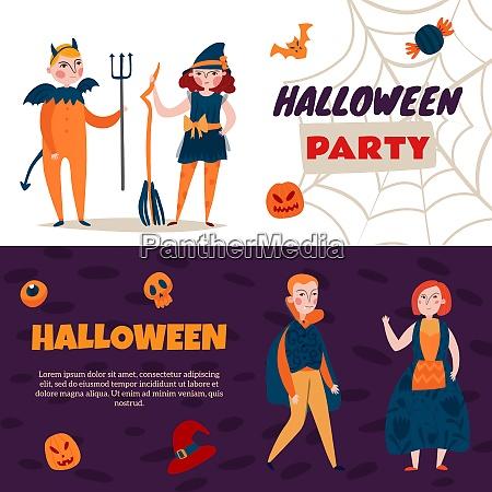 set of two horizontal halloween kids