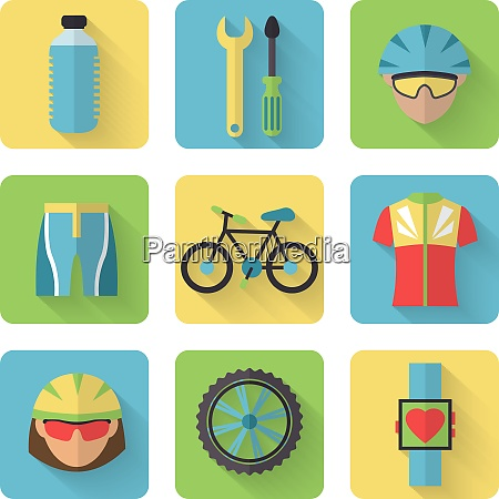 bicycle sport fitness flat icons set