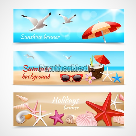 summer holidays beach labels with seagull