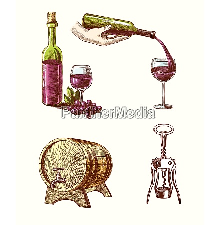 wine vintage hand drawn decorative icons