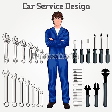 handsome auto service mechanic man standing