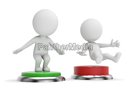 3d small people pressing green