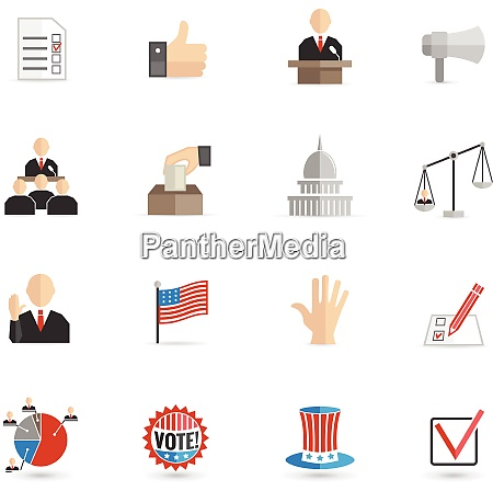 elections and voting icons set with
