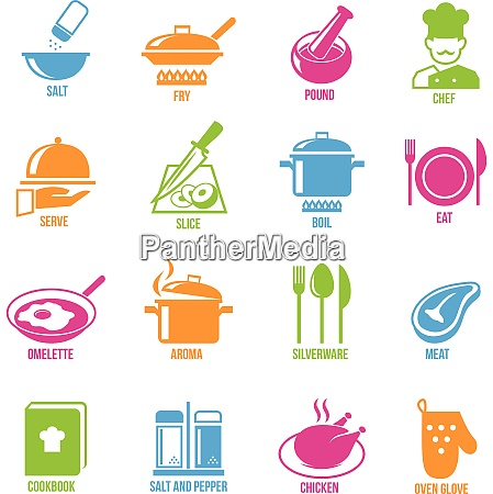 cooking kitchen and restaurant icons set