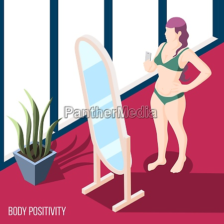 body positivity movement isometric background with