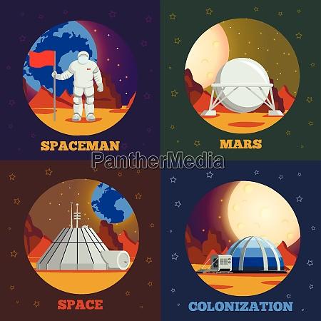 planet colonization flat design concept with