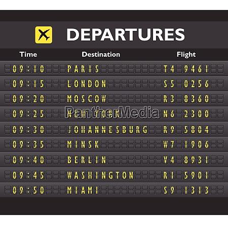 airport departure arrival destination mechanical analog