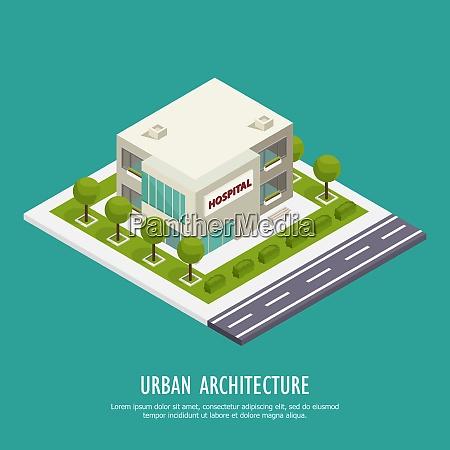 urban architecture public buildings isometric background