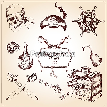 hand drawn pirates decorative icons set