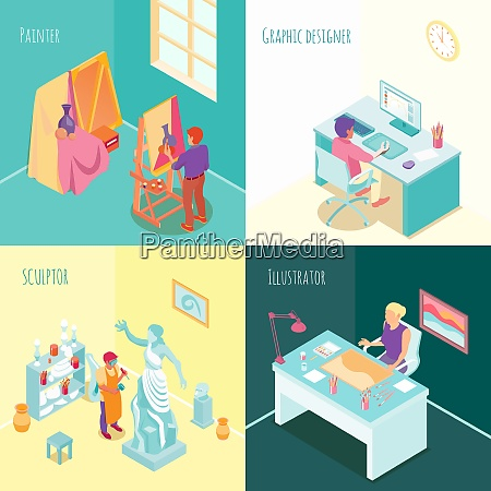 artist at work concept isometric set