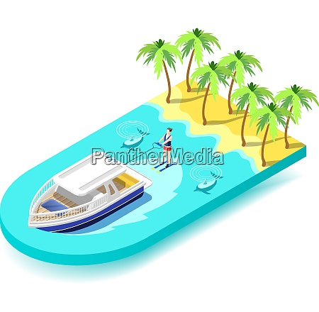 water sport activity isometric composition with