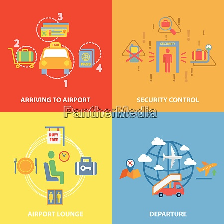 business concept flat icons set with