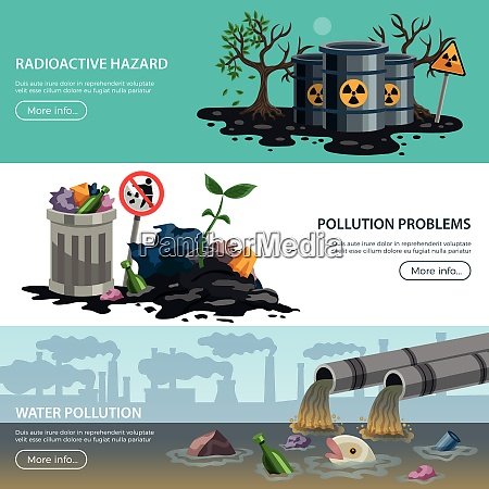 ecological problems 3 flat horizontal banners