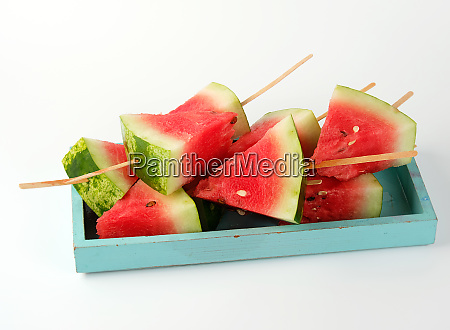 sliced ripe red watermelon with seeds