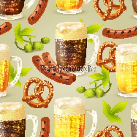 glass mugs of lager and dark