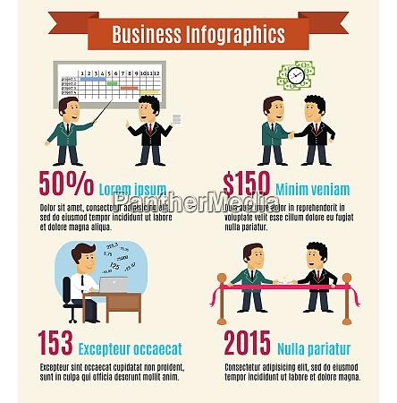 business life infographics with working meeting