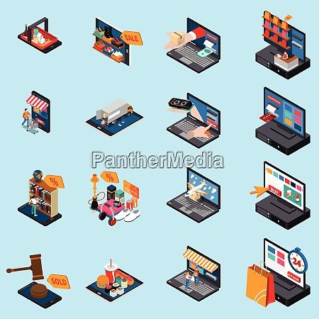 mobile shopping e commerce concept isometric
