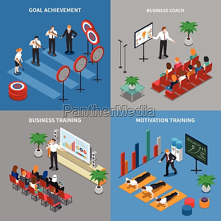 business coaching concept 4 isometric compositions