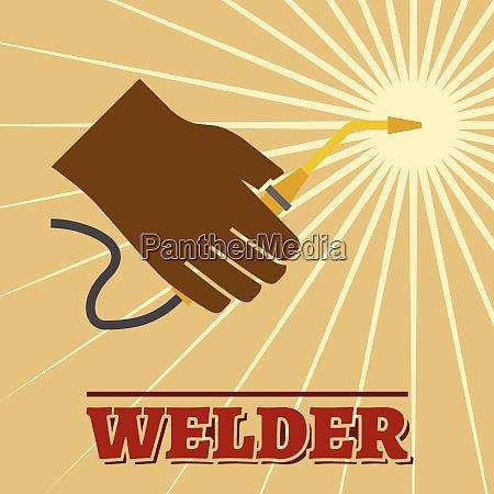 welder industry retro poster with welding