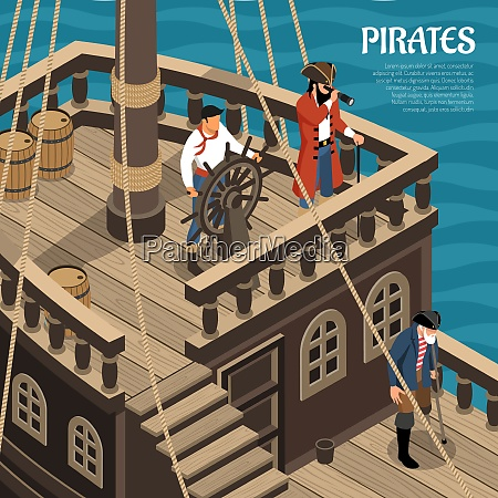 pirates during voyage on sail wooden