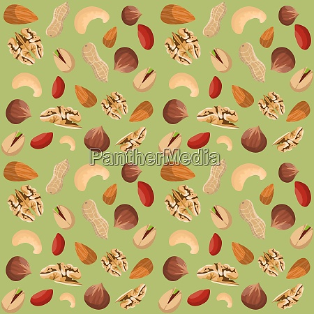 nut mix seamless pattern of dried