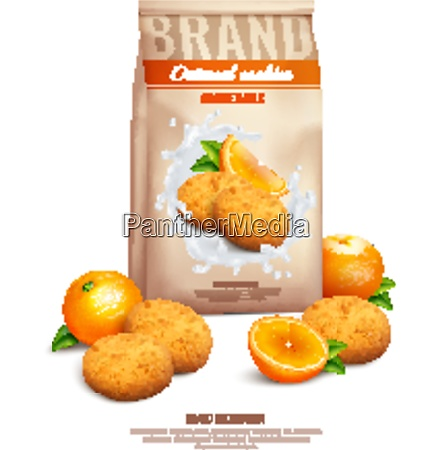 cookies realistic composition with orange and