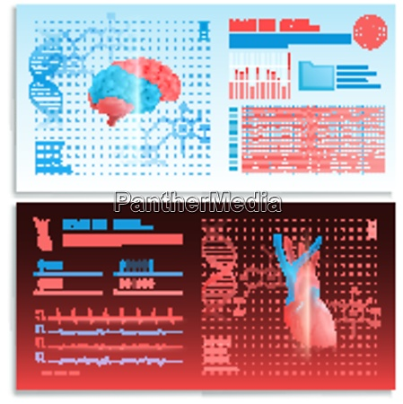 medical interface horizontal banners with heart