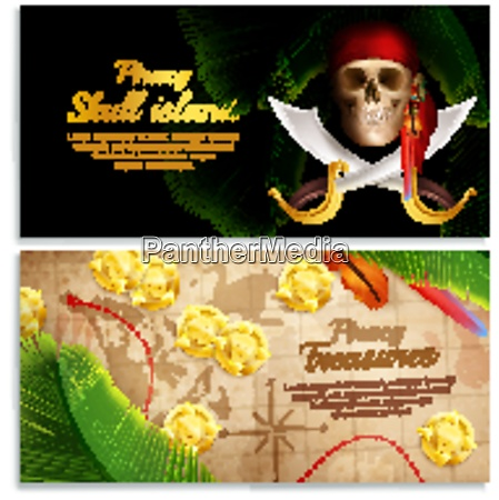 pirate realistic horizontal banners set with